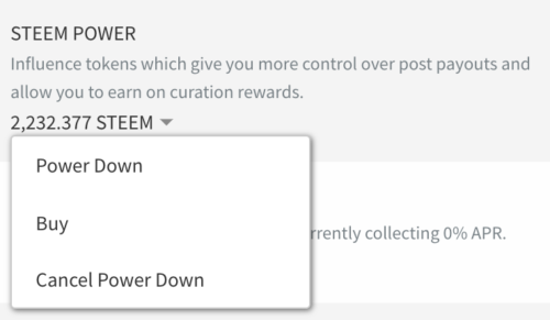 steem power down drop down menu